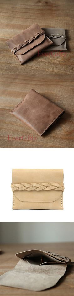 Handmade leather vintage women short wallet coin card change small purse wallet