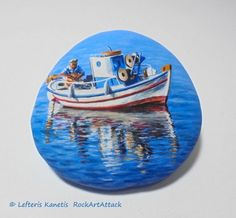 Fisherman On The Boat Painted Stone Landscape ! Seascape with high quality Acrylic paints and finished with Glossy varnish protection.