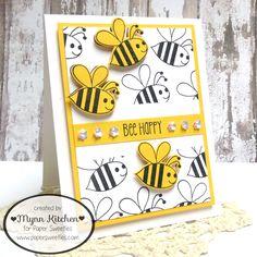 Paper Sweeties   Bee Happy stamp set, Bee Happy Sweet Cuts die set, Marshmallow sequins   Mynn Kitchen   Handmade card, masking