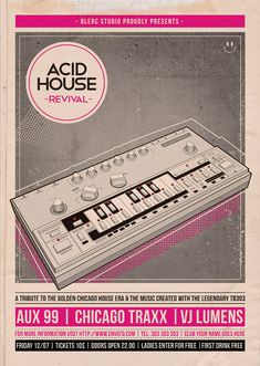 An easy to edit Flyer Template, designed for any of your upcoming nostalgic events. Suitable for mostly all Genres of music events such as Disco, Electronic, Hip Hop, House, Techno, Electro, Kitsch and especially Acid House, Chicago House! The Roland TB-303 Bass Line is a bass synthesizer with built-in sequencer manufactured by the Roland Corporation from 1982 to 1984 that had a defining role in the development of contemporary electronic dance music