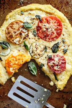 Polenta Pizza with Heirloom Tomatoes and Summer Squash (Featuring Parrano Cheese) from @athoughtforfood