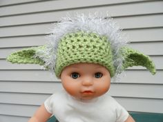 Crocheted Yoda Hat Made to Order.  Please SEND SIZE and DESIGN desired.. $20.00, via Etsy.