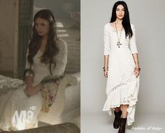 In the eighth episode Kenna wears this Free People Mexican Wedding Dress in ivory Reign Fashion, Fashion Tv, Adelaine Kane, Reign Dresses, Custom Dresses, New Wardrobe, Fashion Pictures, Nice Dresses, Awesome Dresses