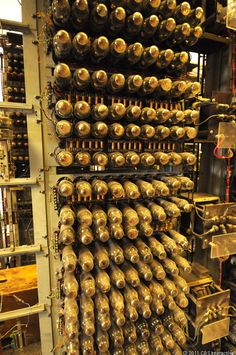 This is a closeup of some of the 1,500 vacuum tubes used to do the work on Colossus. The machine was built entirely from off-the-shelf Post Office machinery parts.