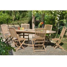 Salon de jardin en teck SUMBARA 5 - 1 table rectangulaire ...