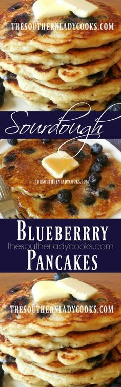These Sourdough Blueberry Buttermilk Pancakes are delicious. I don't know what it is about sourdough but it just makes everything taste better to me. Sourdough Pancakes, Sourdough Recipes, Buttermilk Pancakes, Sourdough Bread, Pancakes From Scratch, Pancakes Easy, Pancakes And Waffles, Blueberry Pancakes, Blueberry Recipes