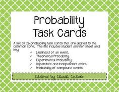 A set of 26 probability task cards that are aligned to the common core. The set includes student answer sheet and key. Topics covered: Likelihood of an event. Theoretical Probability. Experimental Probability. Dependent and Independent event. Probability of compound events ***Little Owl Press*** 5th Grade Teachers, 7th Grade Math, Probability Worksheets, Math Stem, Math Practices, Math Workshop, Math Stations, Guided Math, Student Teaching