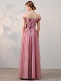 Chic A-line Off-the-shoulder Pink Applique Tulle Modest Long Prom Dress Evening Dress AM230