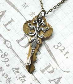 Steampunk Vintage Key with Filigree and by AxisMundiShop on Etsy, $20.00