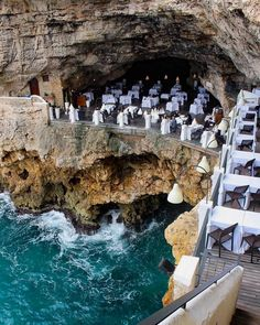The Grotta Palazzese Summer Restaurant and it's located in a hotel by the same name in Polignano a Mare in the Puglia region of Southern Italy. Italy Vacation, Vacation Places, Dream Vacations, Vacation Spots, Italy Travel, Places To Travel, Places To See, Travel Destinations, Holiday Destinations