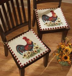 Sunflower Decor For Kitchen 2pc Rooster Chair Pad Cushions Country