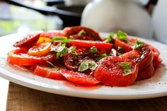 Tomatensalat; homemade by machetwas.blogspot.com #machetwas.blogspot.com #salad #tomatos #homemade #food