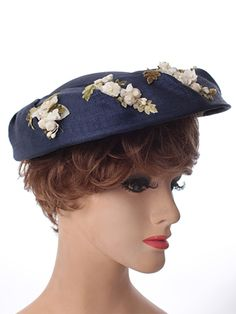 1950s Navy Blue Pleated Saucer Hat Flower Accents-Vintage Hats