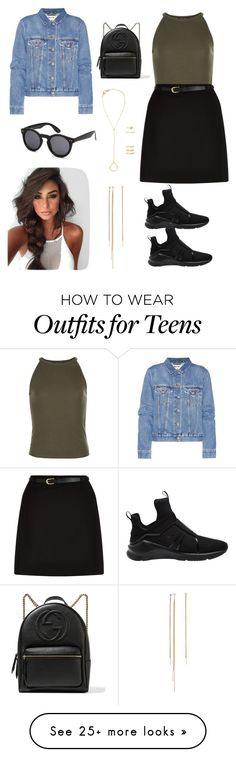 """Untitled #6"" by miiirrra on Polyvore featuring New Look, Puma, Forever 21, Acne Studios and Gucci"