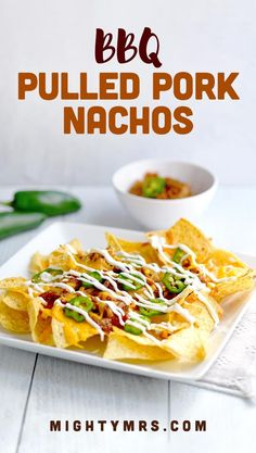 BBQ Pulled Pork Nachos - This easy appetizer recipe comes together in just 15 minutes using cooked crockpot pulled pork drenched in barbecue sauce! Keep toppings simple or load them up with whatever sounds good! The basic recipe includes pork, jalapeños, cheese, tortilla chips and sour cream. Add queso, corn, lettuce, salsa etc. Check the post for more ideas! Great appetizer for football watching or for an easy dinner. #nachos #pulledpork #BBQ #nachos