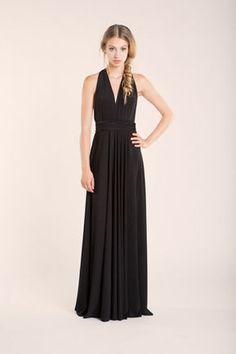 Full Length Bridesmaid Black Infinity Dress Convertible Wrap Dress Multiway Long Dresses