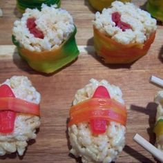 Candy sushi. Great for kids' parties! Rice Krispie Treats, foot by the foot, Twizzlers and Swedish Fish! Roll out, slice and serve with chopsticks.