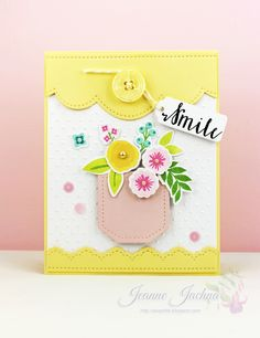 Jeanne Jachna: A Kept Life – Pretty Pink Posh New Release Blog Hop!!! - 10/9/14.  (Dies: Pretty Pink Posh Stitched Borders Two, Stitched Tags; WPlus9 Fresh Cut Florals.  Stamps: WPlus9 Stictly Sentiments, Fresh Cut Florals).