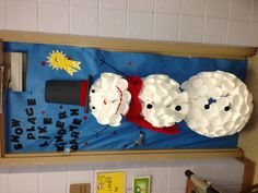 Snowman door decoration made from styrofoam cups, too cute!