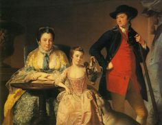 James and Mary Shuttleworth with One of Their Daughters, 1764  Joseph Wright - by style - Baroque