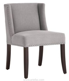 Leather Dining Kitchen Chairs :: Low Back Wing Dining Chair in Grey Fabric SR-44198 - ARTeFAC USA
