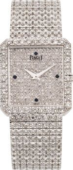 "Piaget Unisex Diamond, White Gold ""Protocole"" Integral Bracelet Wristwatch✤"