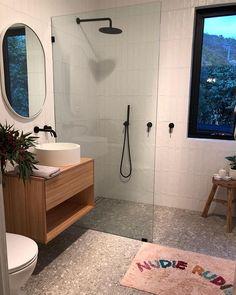 Decor grey Stirling Terrazzo Look Grey Matt Tile - No Stirling Terrazzo Look Grau Matt Fliese Grey Bathroom Tiles, Laundry In Bathroom, Bathroom Renos, Bathroom Renovations, Modern Bathroom, Small Bathroom, Ensuite Bathrooms, Grey Tiles, Washroom