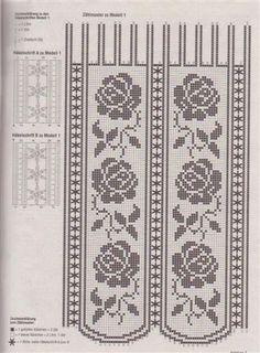 Gardine Filet häkeln ... crochet - curtains Tapete/cortina rosas