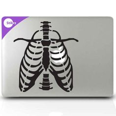 MAC DECAL vinyl laptop stickers Wall Computer Geekery Skeleton Decal Rib cage - Apple Heart 223