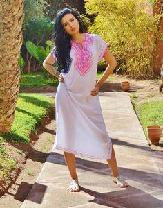 White Resort Marwa Lounge Wear Caftan Kaftan with Pink Embroidery - Maison De Marrakech - 1 Kaftan, Caftan Dress, Marrakech, Bohemian Design, White Embroidery, Maternity Wear, Resort Wear, Winter Dresses, Lounge Wear