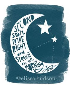 Second Star to the Right Peter Pan wall art by elissahudson