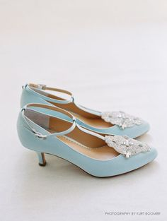 Art Deco Something Blue Wedding Shoes with Great by BellaBelleShoe