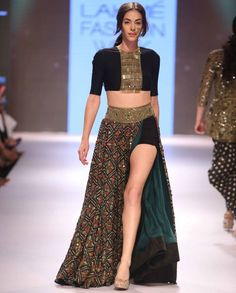 Forest green Tribal Print Skirt with Crop Top - Arpita Mehta - LFW Winter/Festive '15 - Off The Runway