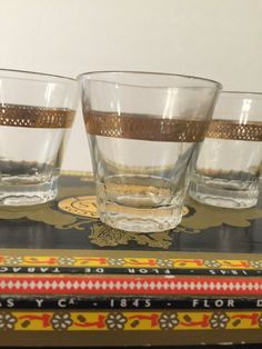 Shot Glasses  Set of 3 Gold Embossed  Mad Men by PineStreetPickers
