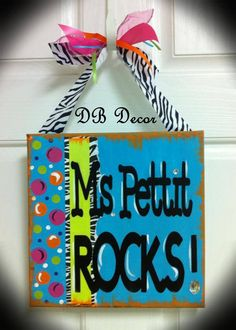 How cute is this.  12x12 canvas with teacher's name...custom made  https://www.etsy.com/listing/158180551/canvas-teachers-name?