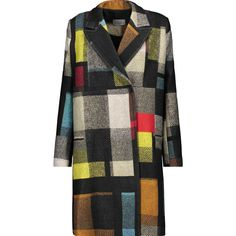 Preen by Thornton Bregazzi - Mina Checked Wool Coat ($996) ❤ liked on Polyvore featuring outerwear, coats, multi, checkered blazer, wool coat, print coat, multi colored coat and pattern coat