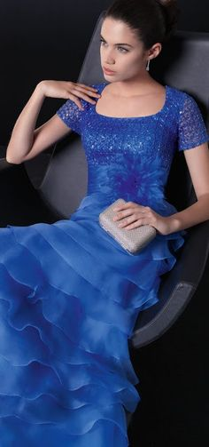 Rosa Clara 2013 ~ cobalt blue short-sleeved gown with a softly layered skirt!  Yes please!!!