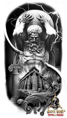 Poseidon Tattoo, Zeus Tattoo, Statue Tattoo, God Tattoos, Warrior Tattoos, Warrior Tattoo Sleeve, Celtic Tattoo Symbols, Celtic Tattoos, Full Sleeve Tattoo Design