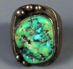 32g HUGE Old Pawn Navajo Sterling Silver CARICO LAKE Turquoise ...