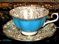 Turquoise & Gold Chintz Royal Albert Tea Cup and Saucer