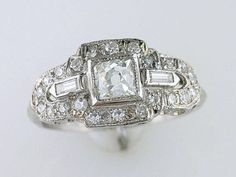Vintage Antique GIA Certified 1ct Diamond Platinum Art Deco Engagement Ring Featuring a Magnificent GIA Certified .48ct I-VS2 Genuine Natural French Cut Diamond!! ~ THIS RING WAS HAND MADE OVER 80 YEARS AGO!! WOW!! ~ ACCENTING THE CENTER ARE 22 ANTIQUE SINGLE CUT, AND 2 BAGUETTE CUT