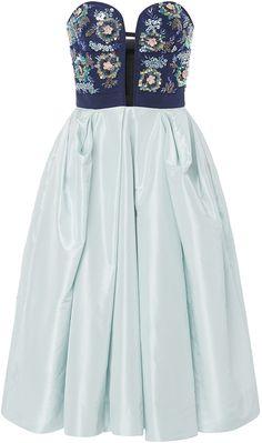 Oscar de la Renta Bugle Bead And Sequin Embroidered Dress