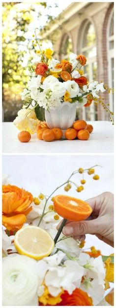 Kumquats and tangerines nicely work with the orange ranunculus to pop against the crisp white sweet peas.