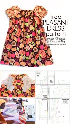 Learn how to sew a peasant dress With this free peasant dress pattern (size 12 m. - Learn how to sew a peasant dress With this free peasant dress pattern (size 12 month to 14 yr) - Peasant Dress Patterns, Toddler Dress Patterns, Girl Dress Patterns, Peasant Dresses, Pillowcase Dress Pattern, Peasant Dress Tutorials, Skirt Patterns, Coat Patterns, Blouse Patterns