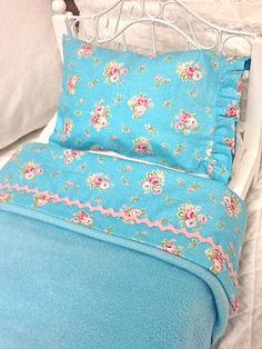 Shabby Chic Doll Bedding-Shabby Style Aqua Sheet set with Pillow and Fleece Blanket