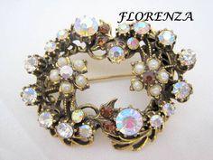 Florenza Aurora Borealis Brooch -  Pearl Topaz Highlights - Victorian Revival - Antique Gold Tone