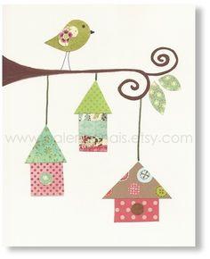Art - personnalisé - oiseau de pépinière - nichoirs impression de mur enfant art baby nursery décor - sticker de pépinière - kids