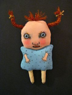 ooak art doll,sandy mastroni, whimsical, Weird little girl,Melanie , funny Odd doll, shelf art, polka dot , wall art,