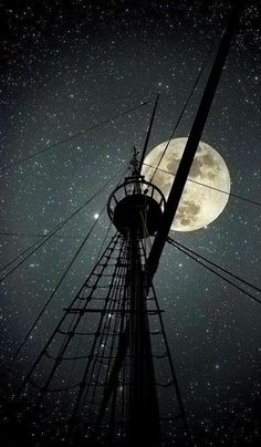 I want to sail the sea again, where the lonely moon's in the sky, all I ask for is tall pirate ship and a star to steer her by ~ Pirate dream Stars Night, Stars And Moon, Moon In The Sky, Beautiful Moon, Beautiful People, Sail Away, Tall Ships, Belle Photo, Full Moon