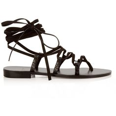 Saint Laurent Nu Pieds lace-up suede sandals (755 TND) ❤ liked on Polyvore featuring shoes, sandals, suede lace up sandals, lace up sandals, strappy lace up sandals, black suede shoes and criss-cross sandals
